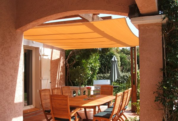 create your perfect outdoor eating area with a shade sail. Black Bedroom Furniture Sets. Home Design Ideas